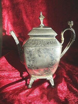 1872 Figural Victorian Meriden B Silverplate Coffee Pot Bearded Man