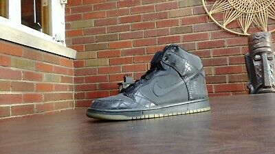 super popular 7e8de 823d0 Vintage 2007 Nike Dunk High Premium Shoes Sz 11 Reflective Black Croc  309432 002