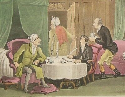 Thomas Rowlandson Hand Coloured Engraving (1820) Doctor Syntax Making His Will