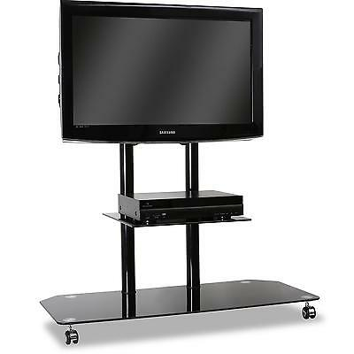 [OCCASION] Electronic Star support TV pied verre & aluminium roulettes noir