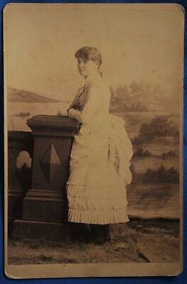 Cabinet Photo Woman White Bustle Dress Name Lillie Moore No Photographer Info