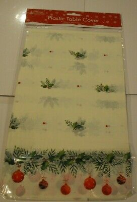 Christmas Table Cloth Cover 120cm x 180cm Plastic Wipe clean Cream Holly Baubles