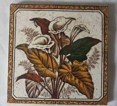 Charming Arts & Crafts Lily Floral 6 Inch Tile 19Th Century.
