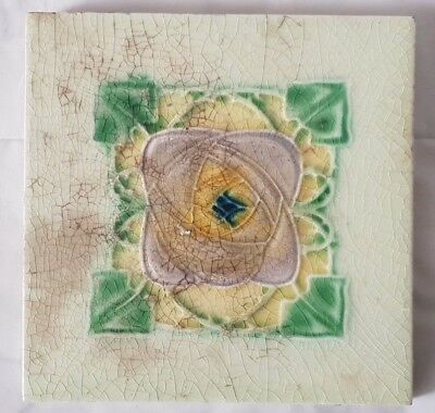Vintage English Art Nouveau Glasgow School Style  Floral Tile