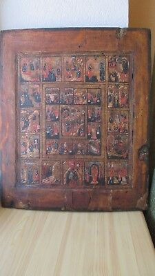 Icona Russa,Antique Russian Orthodox icon,,Church Feasts,,from 19c.