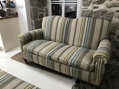 Antique Victorian sofa reupholstered with Ian Mankin Fabric