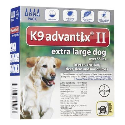 Bayer K9 Advantix II Flea and Tick Control Treatment for Dogs over 55 lbs 4 Pack
