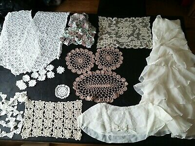 Vintage White  Cream Coffee Crochet/ Lace  Table Mats Runners Bits/ Pieces