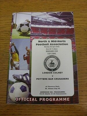 05/04/2010 North And Mid-Hertfordshire Bingham Cox Cup Final: London Colney v Po