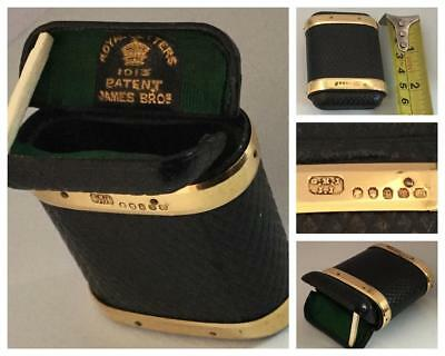 Miniature 18K Gold Banded Leather Cigar Case Hallmark & Patented London 1870