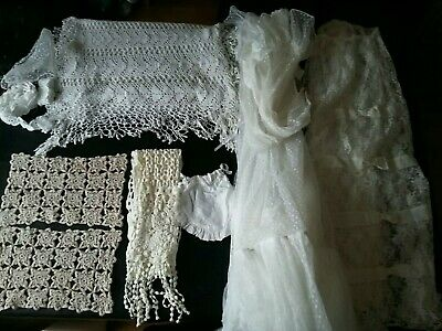 Vintage White  Cream  Crochet/ Lace  Table Mats Runners Bits/ Pieces Material