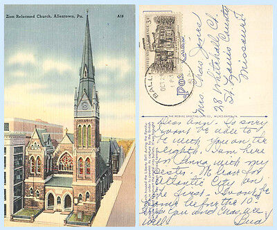 Zion Reformed Church Allentown Pennsylvania 1958 Postcard - Architecture