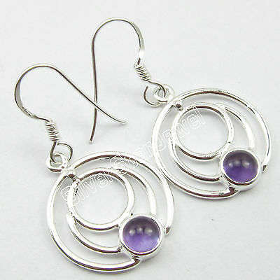 """New Fashion Women's Jewelry, 925 Pure Silver AMETHYST ROUND WIRE Earrings 1.4"""""""