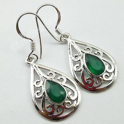 1 Pair Original GREEN ONYX CELTIC Earrings, 925 STERLING Silver Jewelry 1.5""