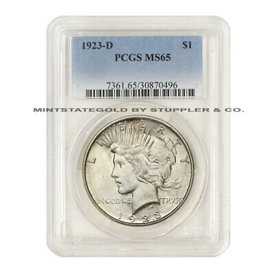 1923-D $1 Peace PCGS MS65 Gem Graded Uncirculated Mintstate Denver Silver Dollar