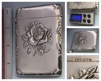 Exquisite 'single Rose' Embossed Edwardian Silver Card Case Hm. Chester 1910