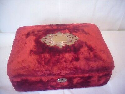 Antique material clad  Wooden Jewellery Box