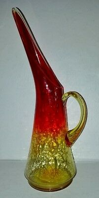 Vtg 1950s Kanawha Red Amber Yellow Crackle Glass Pitcher