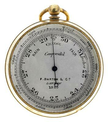 Gilt brass English compensated pocket aneroid barometer & Altimeter working
