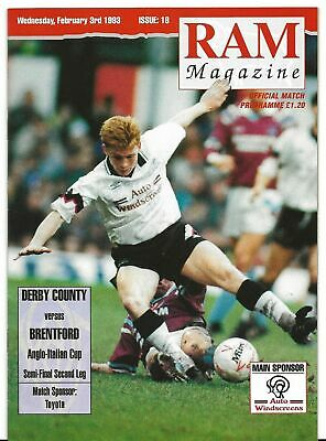 Football Programme>DERBY COUNTY v BRENTFORD Feb 1993 Anglo-Italian Cup SF