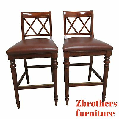Set Of 3 Ethan Allen Rush Seat High Barstool Chairs