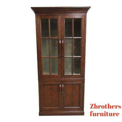 Jonathan Charles Distressed Plank Walnut China Curio Cabinet Book Case Display A