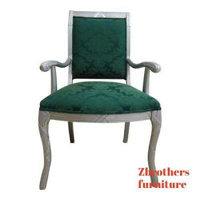 Vintage French Grey Lacquered Carved Regency dining room desk arm chair