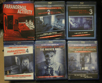 Paranormal Activity 1 2 3 4 Marked Ones Ghost Dimension Blu ray 6 Film SEALED