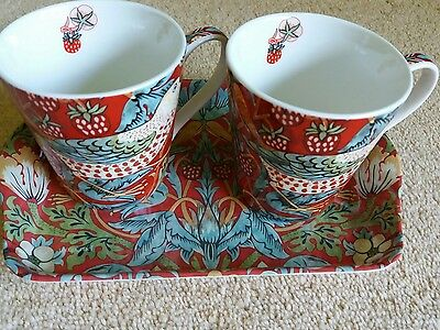 William Morris cup and tray set Strawberry Thief
