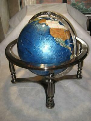 Large Semi-Precious Stones Inlay World Globe With Silver Base / Stand
