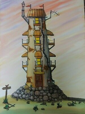 """Original Watercolour Painting A4 - """"Lighthouse Hotel"""" by Colin Coles"""