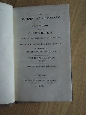 Glossary Words In Cheshire. Wilbraham. Lysons. Bulmer & Nicol London 1820.