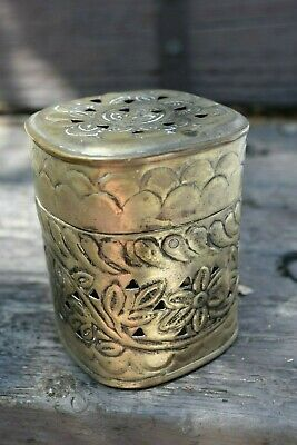 Pierced & punched silver-plated OLD Beautiful hinged box embossed, INDIA