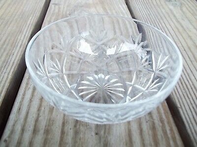 Vintage Crystal Glass Pineapple Starburst Bowl Candy Nuts 4-5/8 inch Dia.