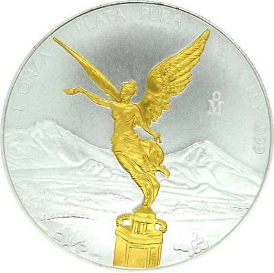 Argent 1 Once Mexico Libertad Argent Pura 2019 Gilded avec Application D'Or