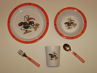 Miami Hurricanes 5 Pc Baby / Child Dinner Set -Sippy,Plate,Bowl,Fork,Spoon