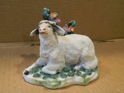 Staffordshire White Curly Sheep Figurine w/ Flowers Antique