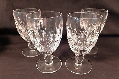"""Set 4 Signed Waterford Crystal """"Colleen"""" Irish Cut Glass Claret Wine Goblets"""