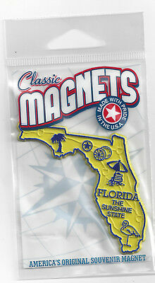 """FLORIDA  """" THE SUNSHINE  STATE""""   OUTLINE MAP MAGNET  in Souvenir Bag, NEW"""