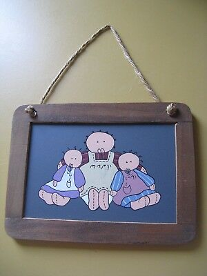Vintage Hand Painted Primitive Amish Children Dolls On Chalkboard Wall Hanging