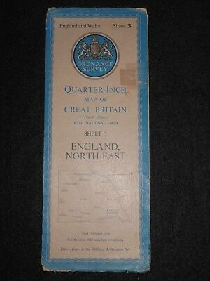 Vintage Ordnance Survey Map of North East England (1946) Bradford, Whitby York
