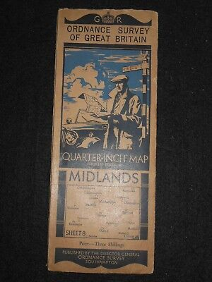 Vintage Ordnance Survey Map of The Midlands (1935) Warwickshire, Bedfordshire