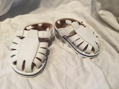 """Boy/Girl Kids 4 M Rubber Sole White 5"""" Strappy Buckle Walk Comfort Slippers New"""