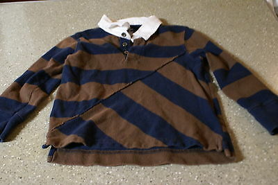 Boy's Old Navy Size 4T Brown/Black Stripe Long Sleeve Polo Shirt EUC