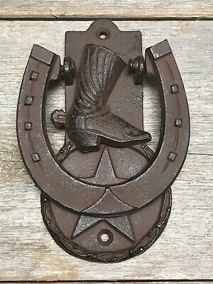 Rustic Horseshoe Cowboy Boot Star Door Knocker Heavy Cast Iron Barn Western