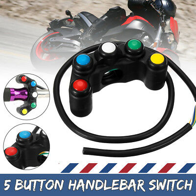 Universal Motorcycle Race Bike Switches Assembly 5 Button Array 2019