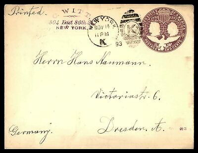 New York C Witt Station K November 14 1893 Stationery Ad To Dresden Germany
