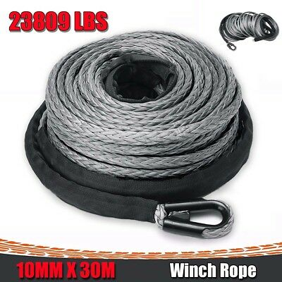 2/5'' x 100ft Synthetic Winch Rope Line Grey Recovery Cable 23000LBS 4WD ATV