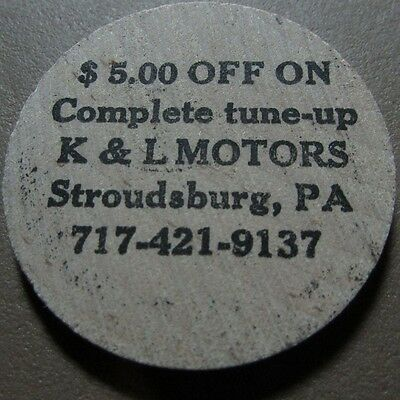 Vintage K&L Motors Stroudsburg, PA Wooden Nickel Token - Pennsylvania