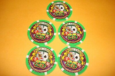 5  Paulson Royal Casino Las Vegas pro series Sample Casino Chip 25 NCV Ltd set